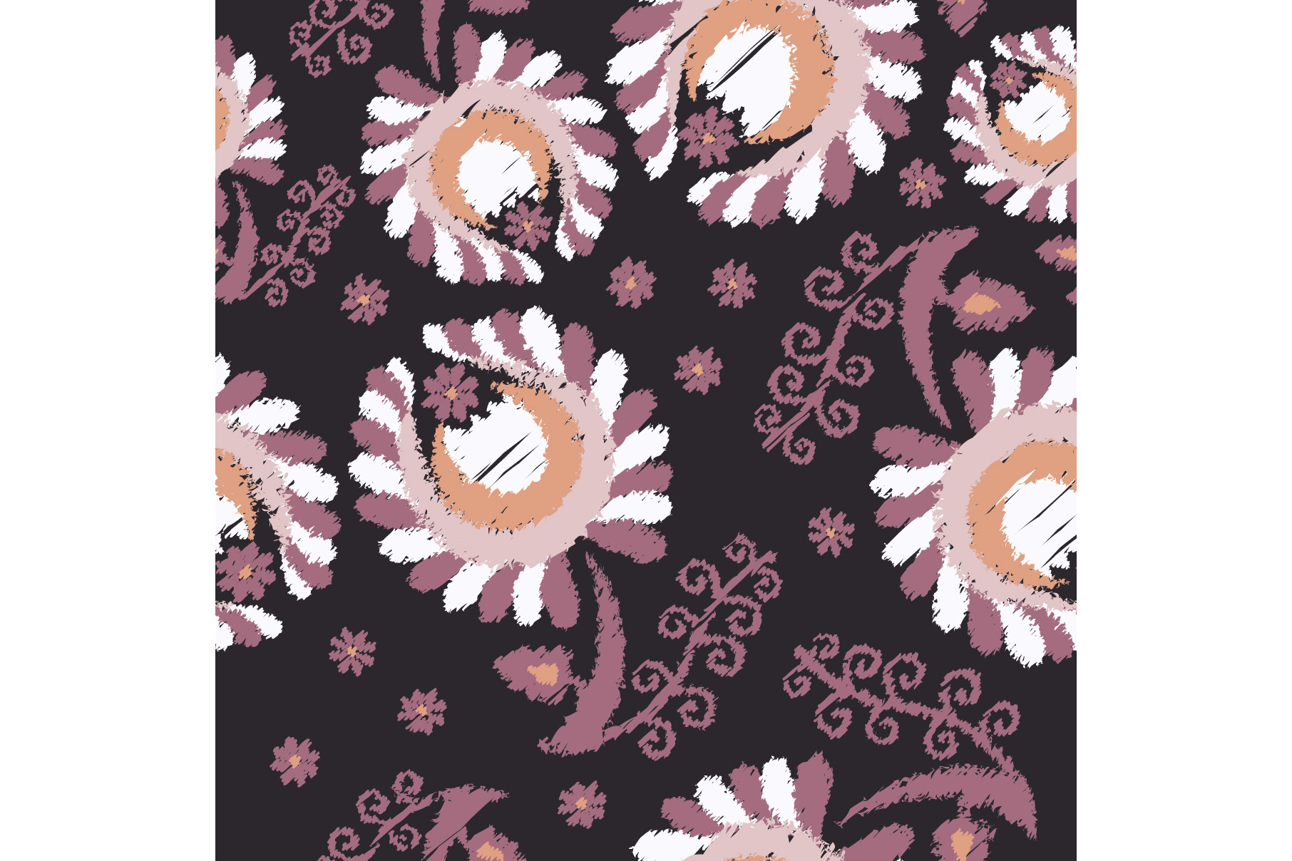 Set of 12 seamless pattern with decorative flowers.  example image 7