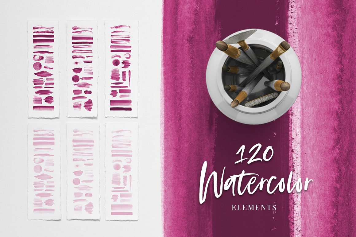120 Pink Watercolor Texture Elements example image 1