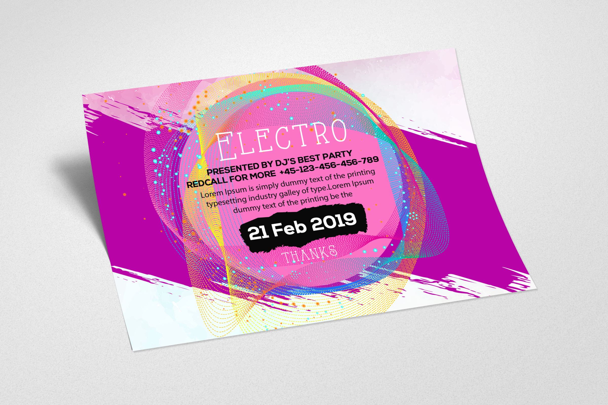 Electro Party Invitation Template example image 2