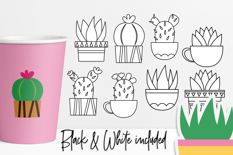 Succulent cactus clip art illustrations bundle example image 9
