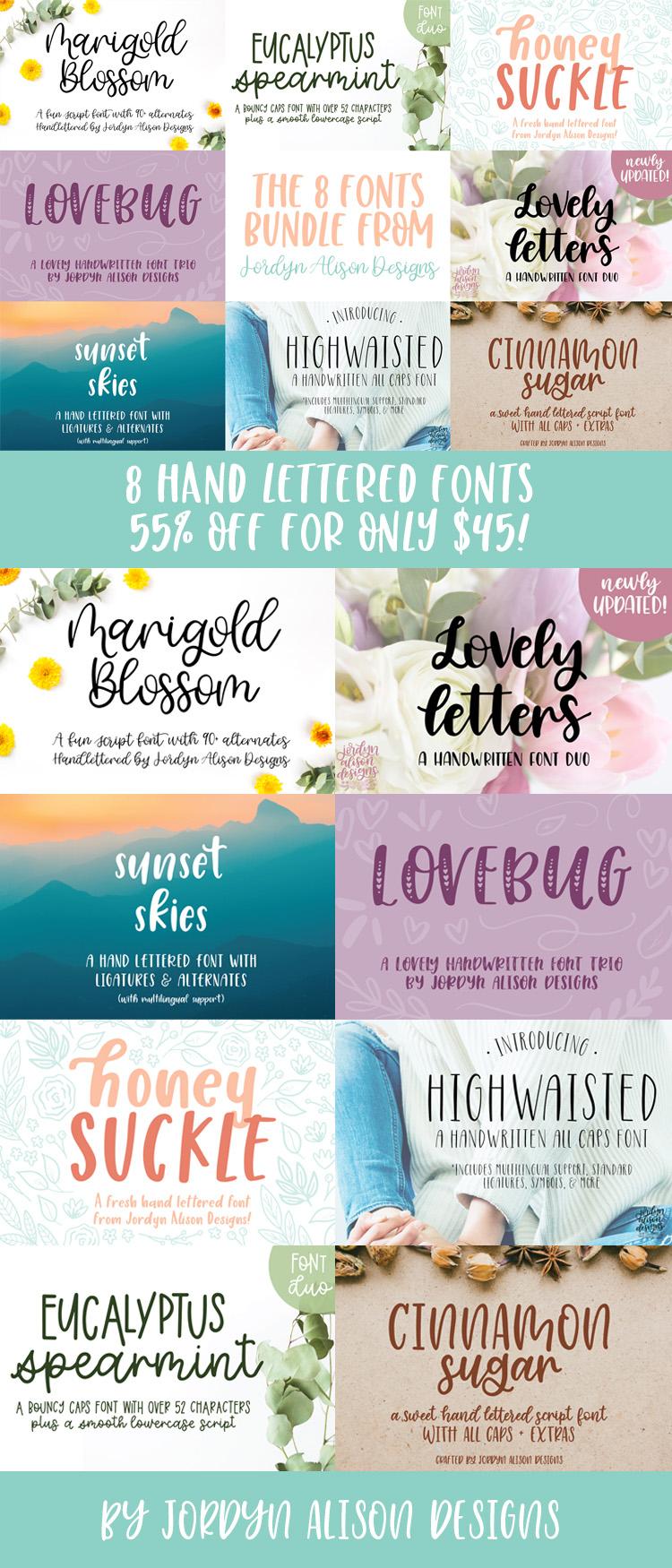 8 Hand Lettered Fonts Bundle, Script Monoline Skinny Sans example image 18