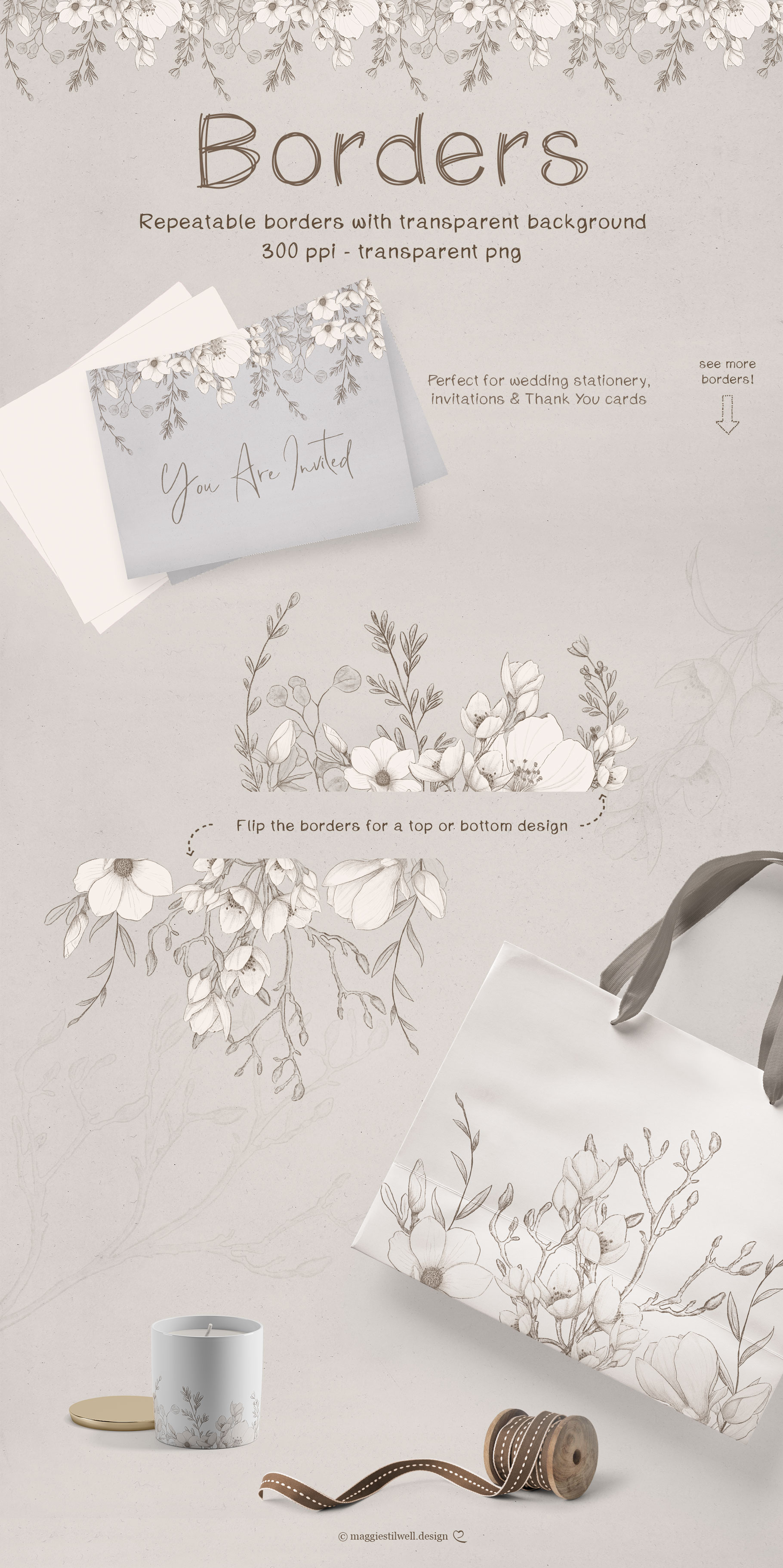 Sketchy Floral Wreaths & Borders example image 3