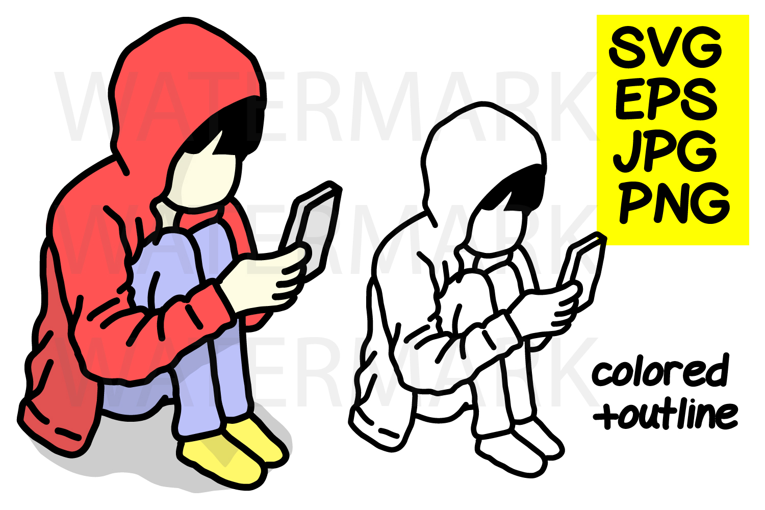 Hoodie Boy and smartphone-color and outline- SVG-EPS-JPG-PN example image 1