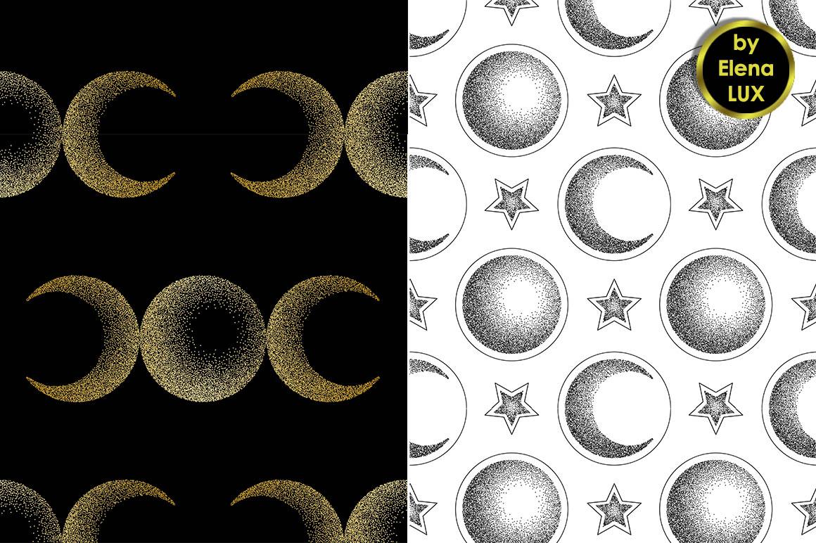 Moon Dotwork Seamless Set example image 2