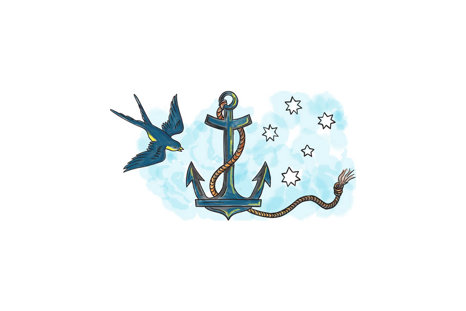 Anchor Swallow Southern Star Tattoo example image 1