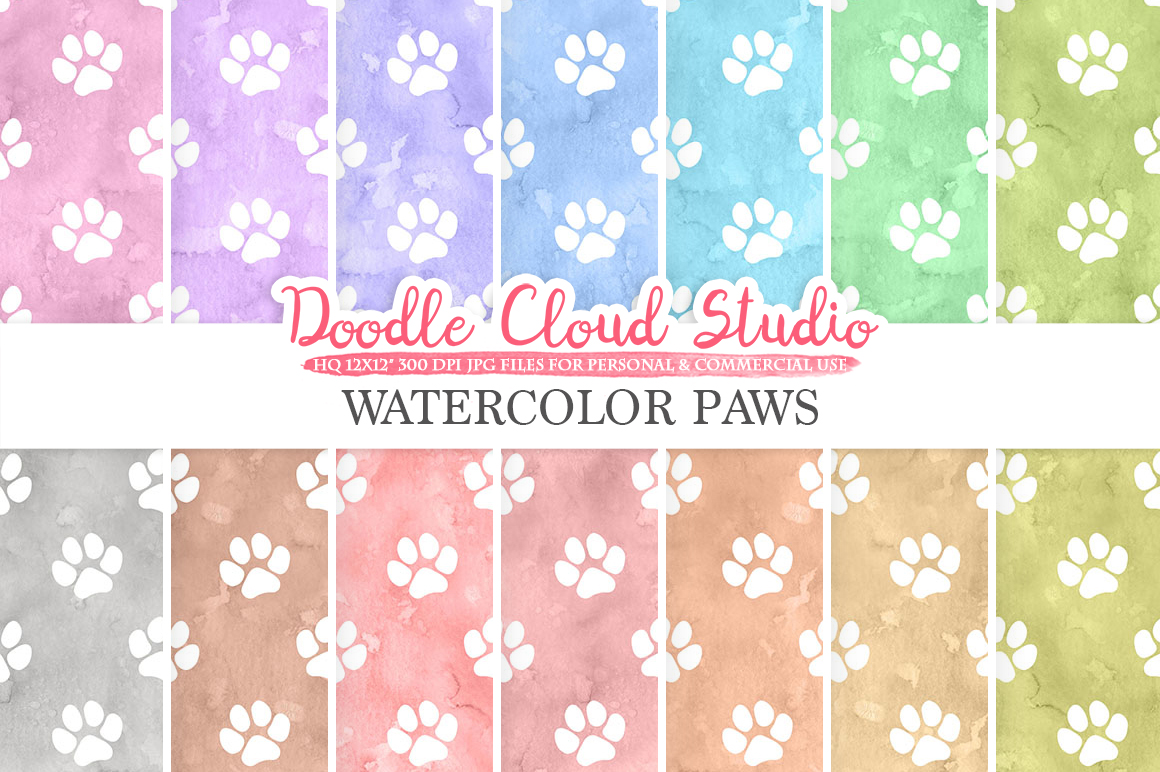 Watercolor Paws digital paper, Paw Prints pattern, Digital Paws, pastel watercolor background Instant Download for Personal & Commercial Use example image 1