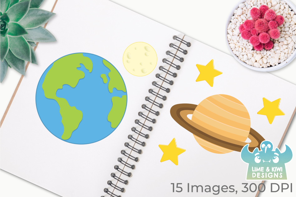 Solar System Planets 2 Clipart, Instant Download Vector Art example image 3