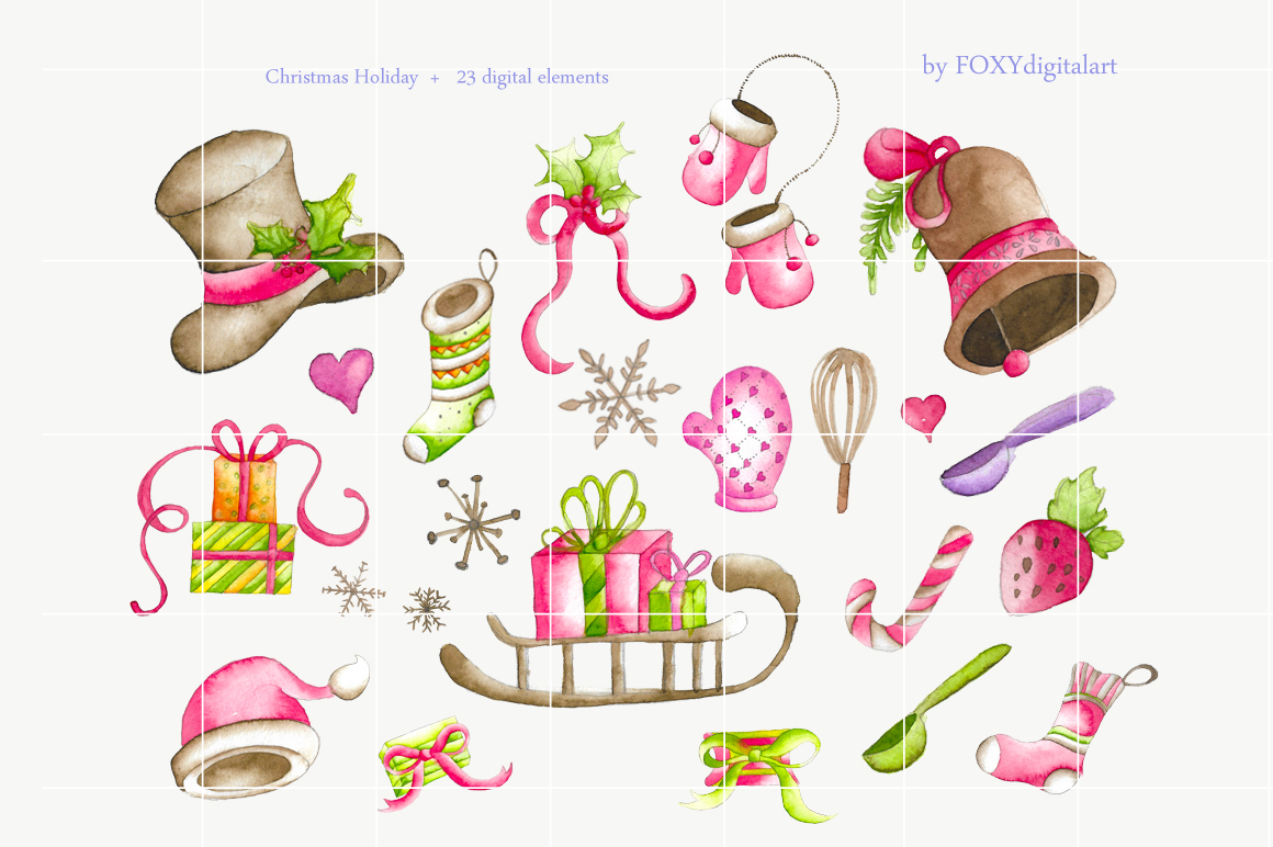 watercolor christmas clipart holiday example image 2