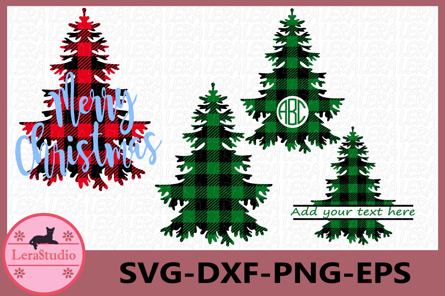 Christmas Tree SVG, Buffalo Plaid Svg, Tree Monogram Svg example image 1