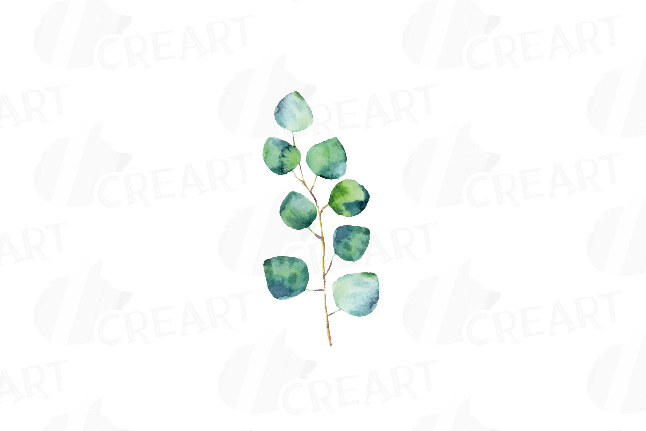 Watercolor Pink and Blue Roses and leafs clip art pack, png example image 14