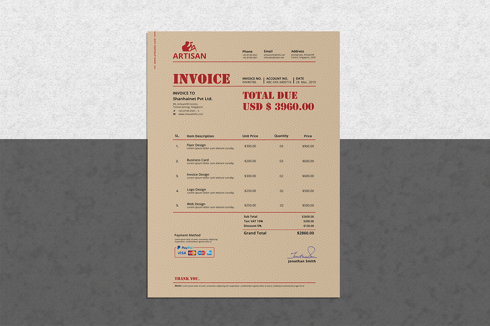 Retro Invoice example image 2