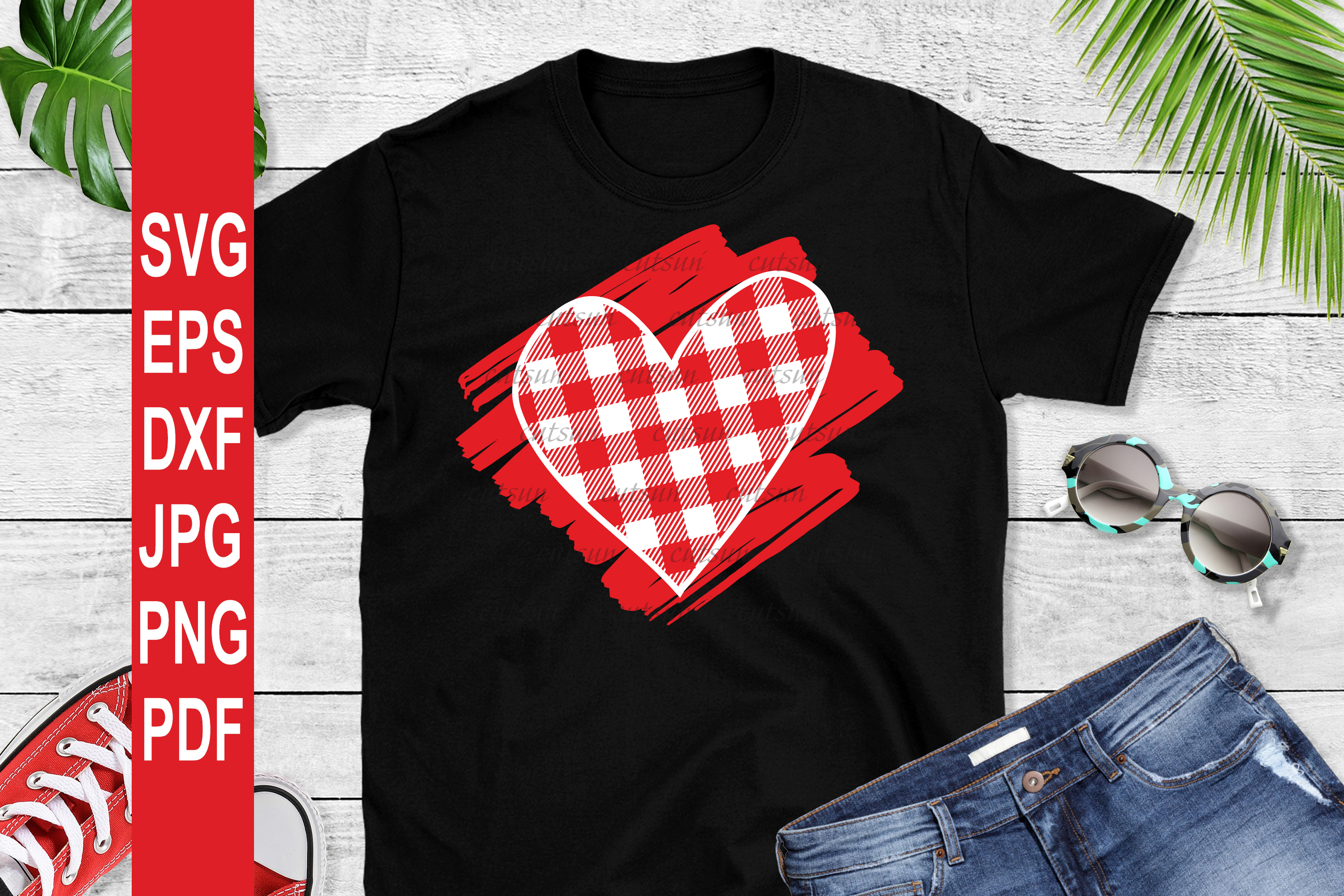 Valentine SVG  Plaid Heart on a scribble   Heart plaid example image 2