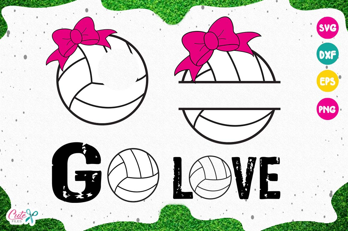 Volleyball monogram SVG, cut files for craftter example image 1