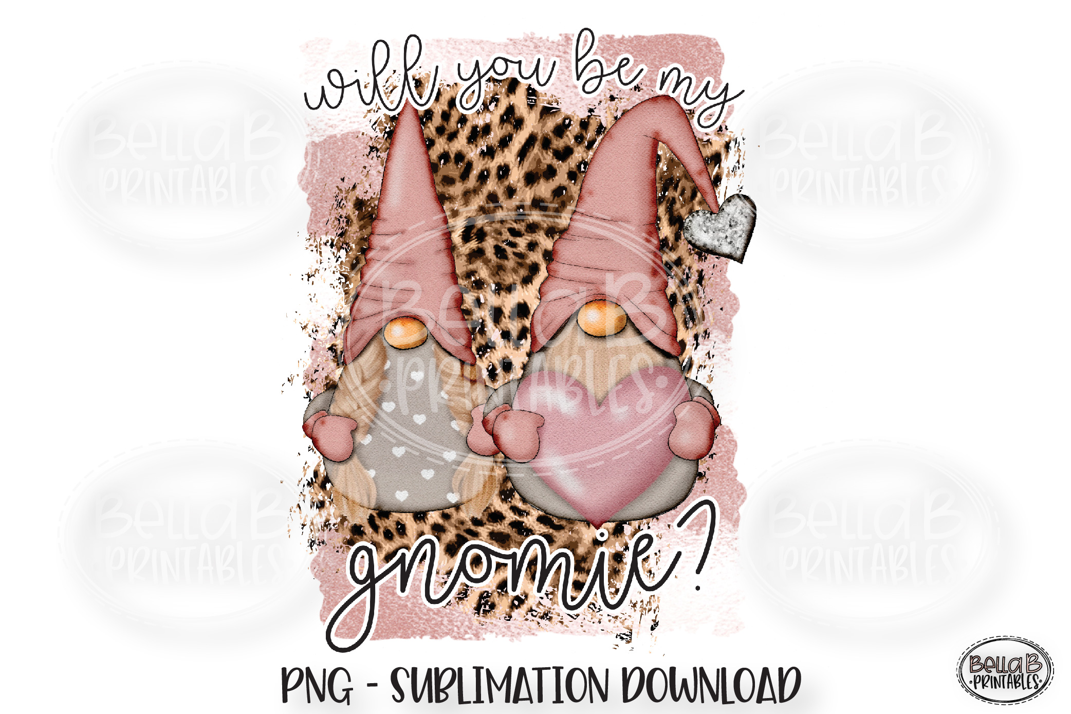 Valentines Sublimation Design, Will You Be My Gnomie example image 1