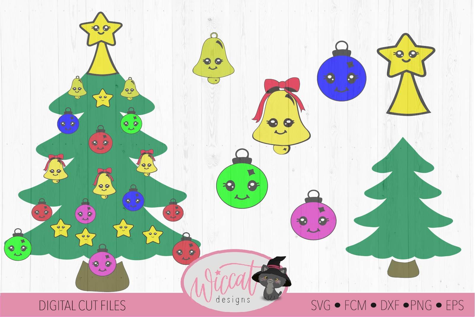 Christmas Kawaii tree, Kawaii Ornaments svg example image 2