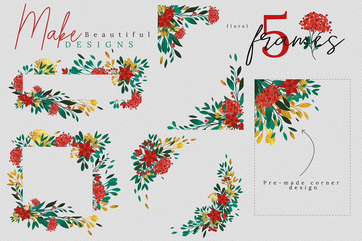 Christmas Watercolor Flowers Clipart Collection example image 6