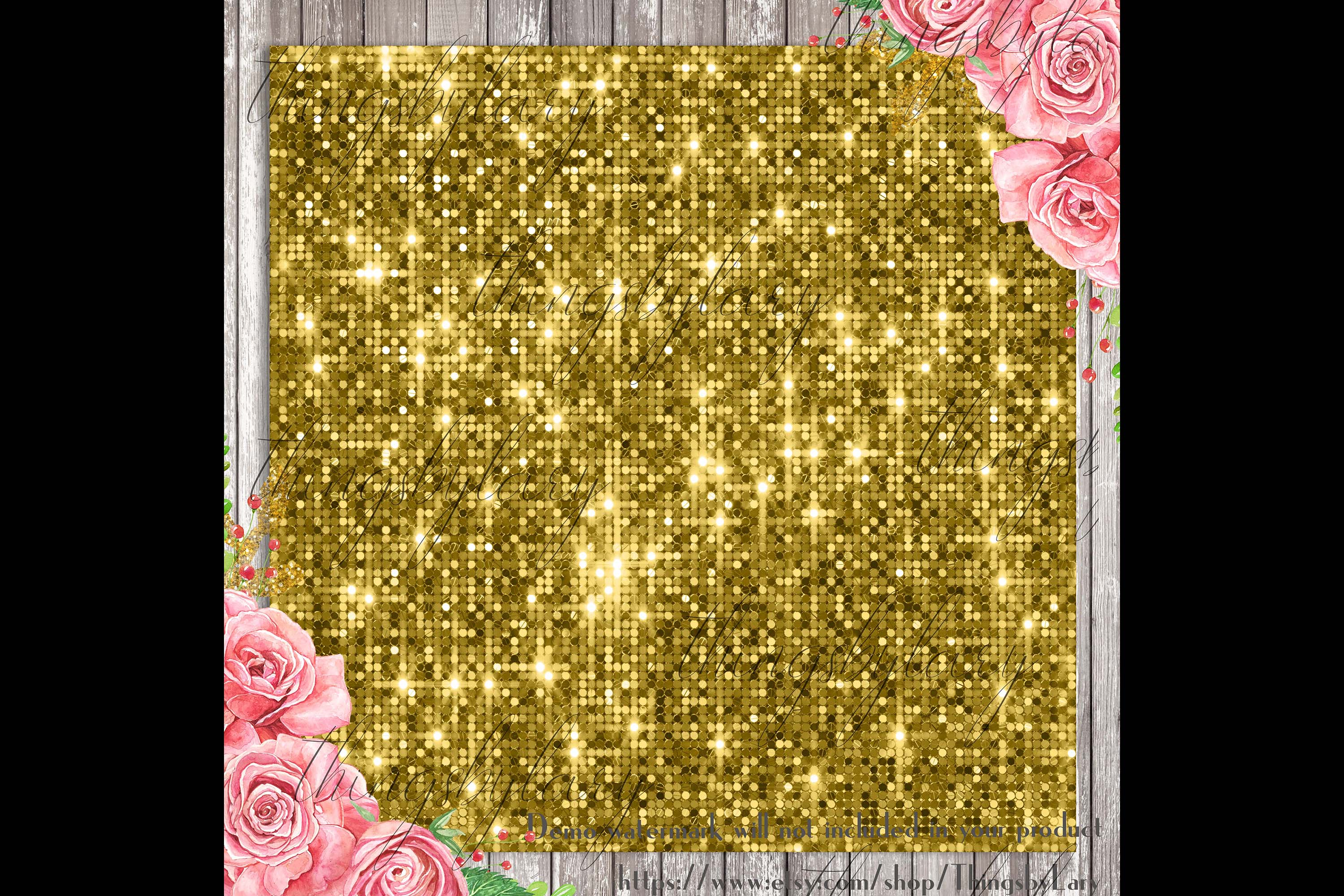 100 Seamless Glowing Bling Bling Disco Sequin Digital Papers example image 4