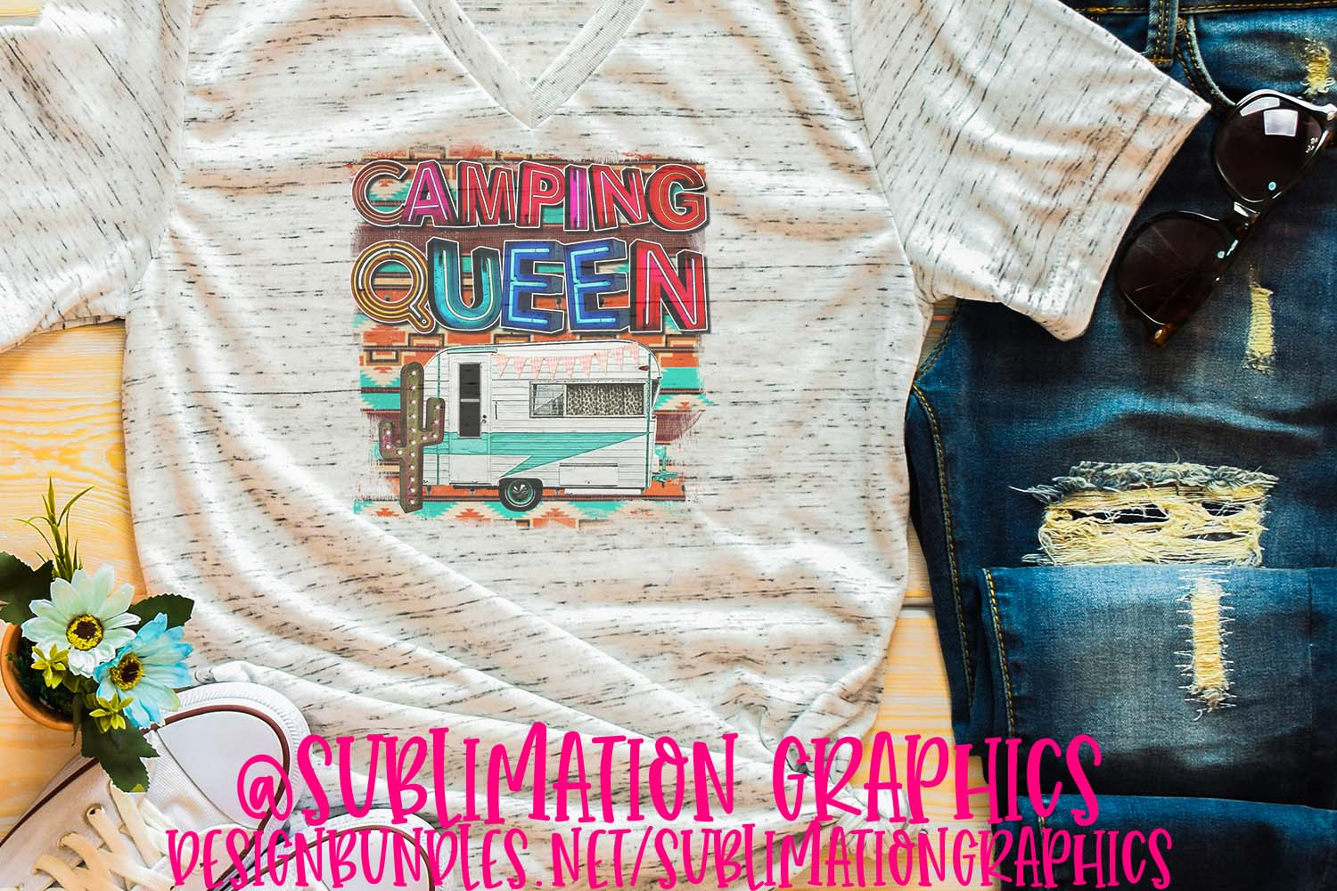 Camping Queen Sublimation PNG example image 1