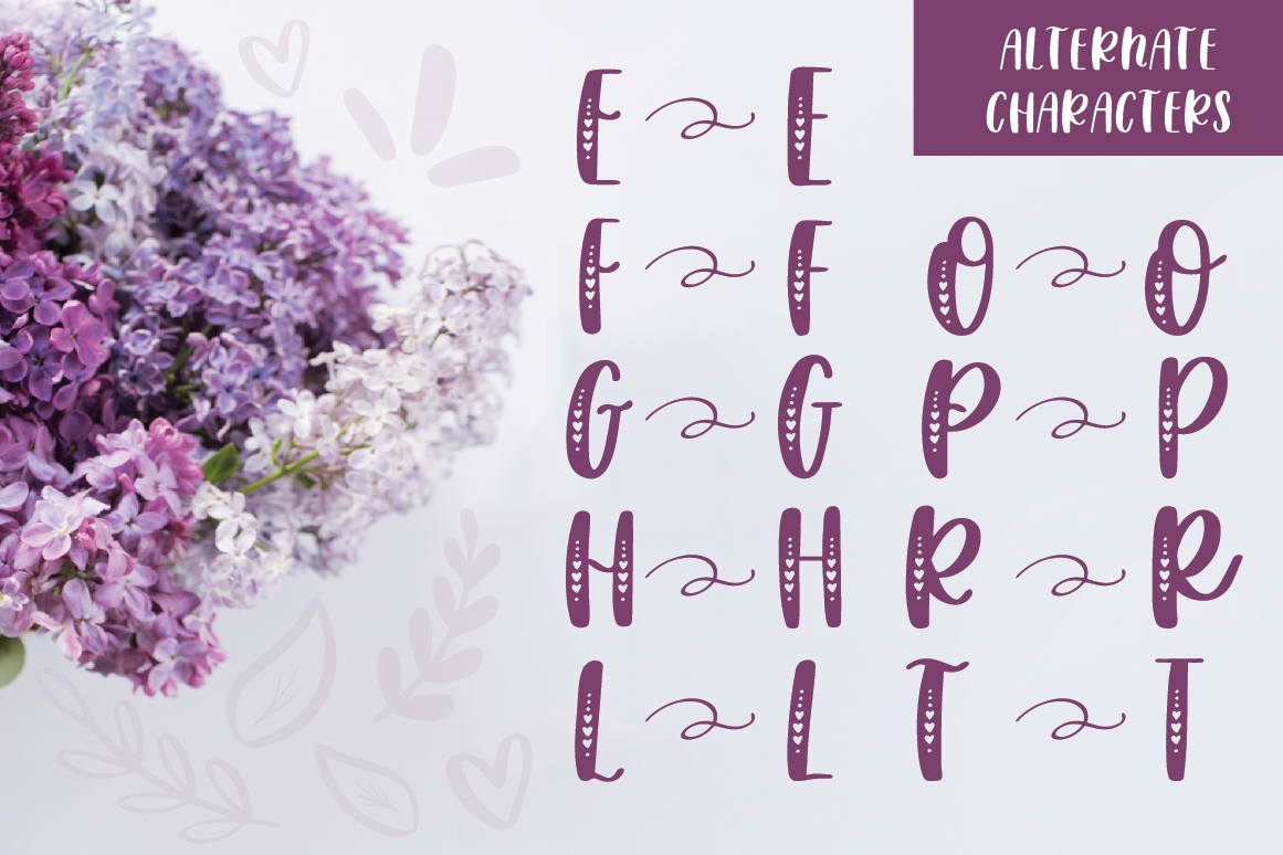 Lovebug Hand Lettered Font Trio, Valentine's Heart Font example image 3