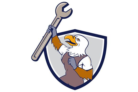 Mechanic Bald Eagle Spanner Crest Cartoon example image 1