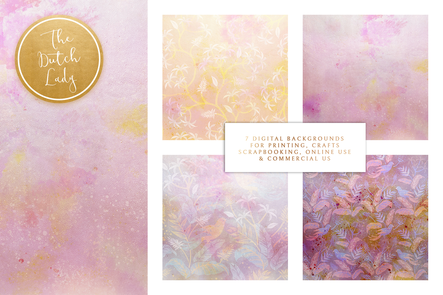 Floral Backgrounds & Paper Designs - Audrey example image 2