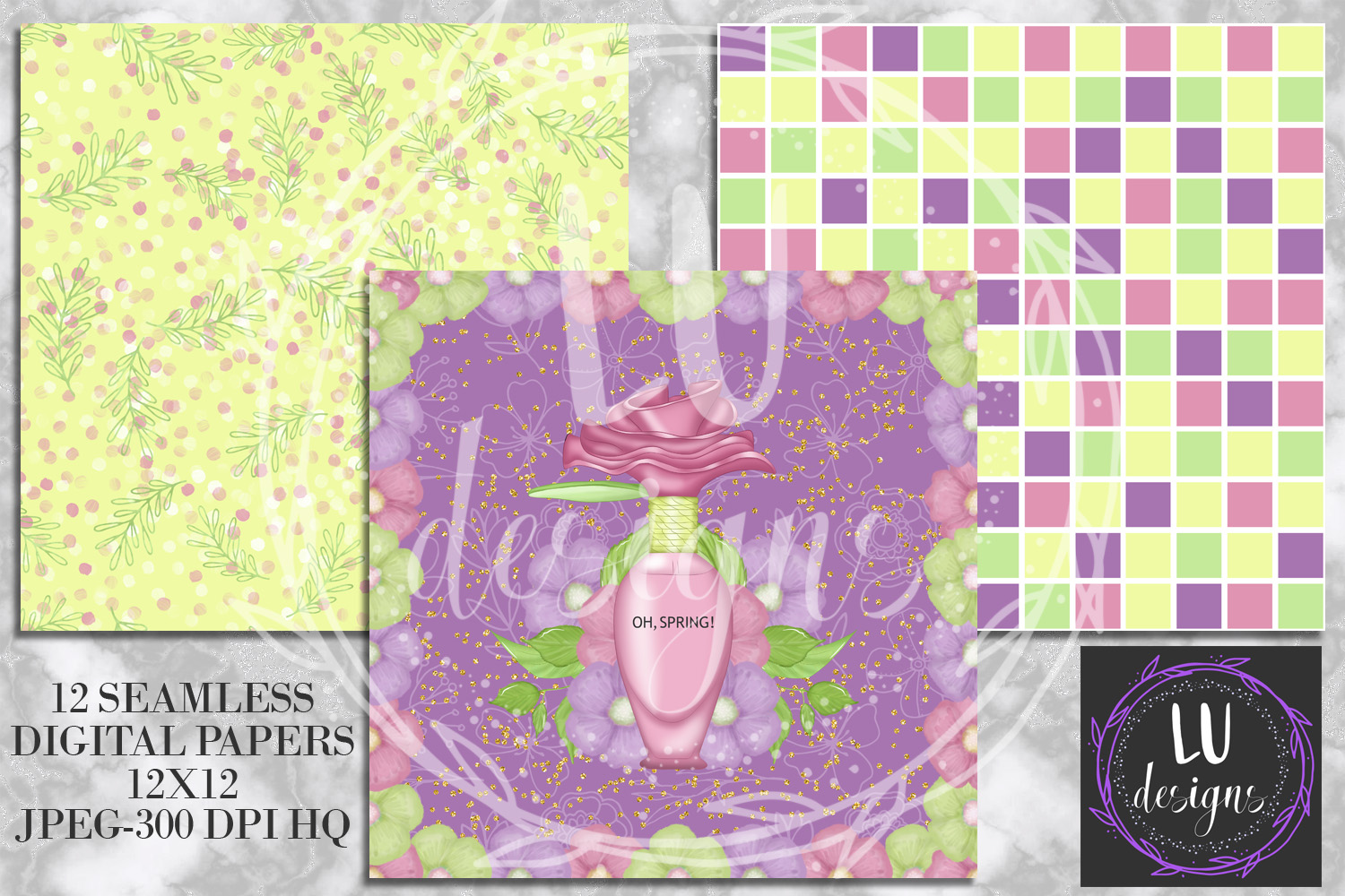 Spring Digital Papers, Spring Backgrounds, Garden Scrapbook example image 3
