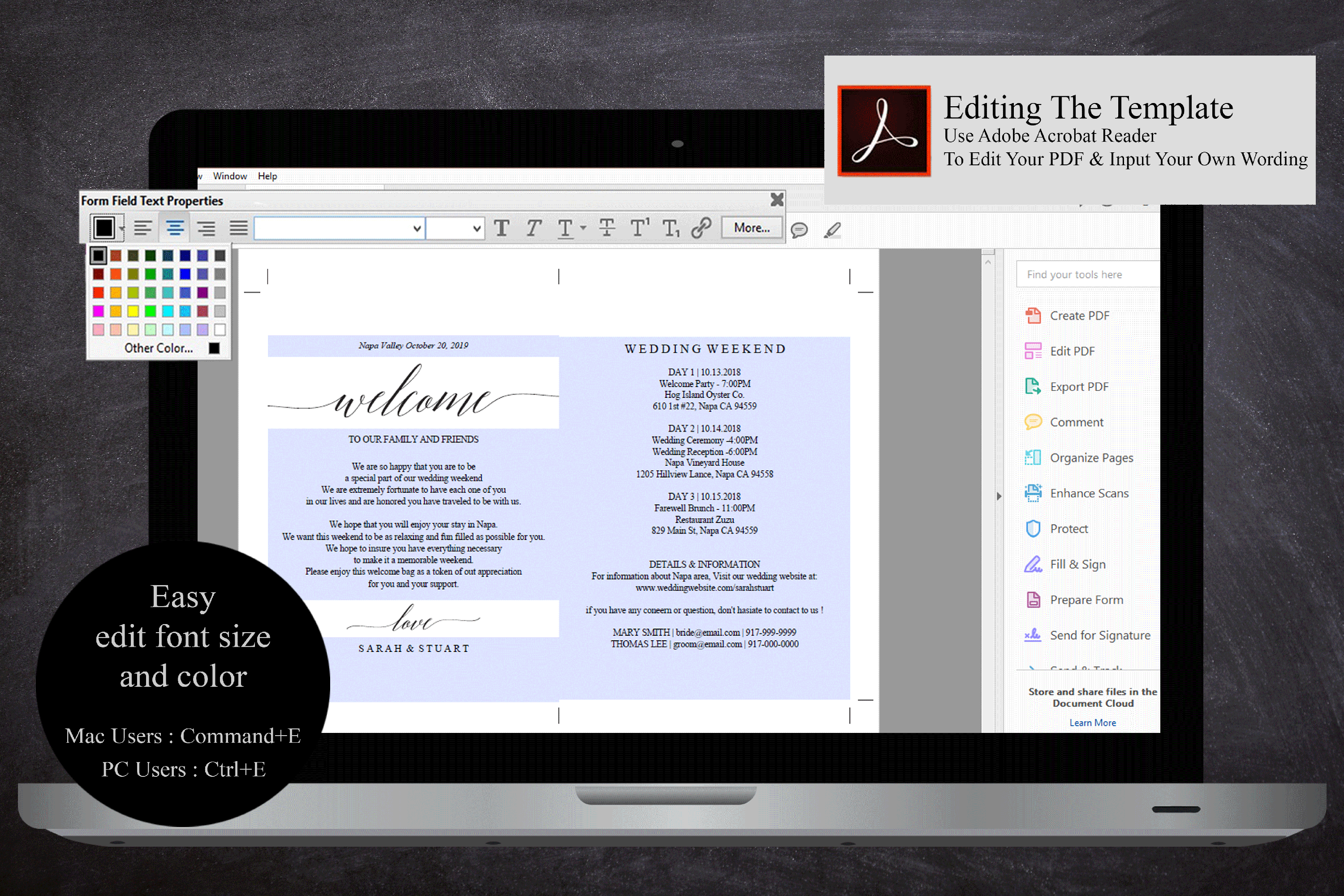Wedding Itinerary Card, Welcome Note, Printable Wedding example image 4