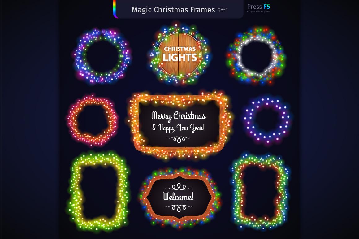 Magic Christmas Lights Vector Brushes Big Set example image 6