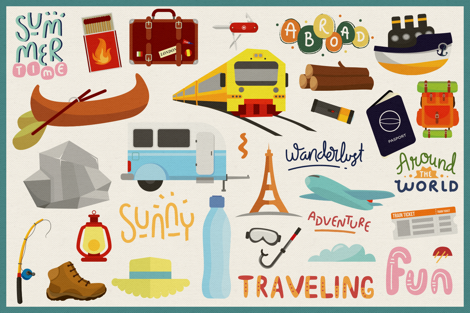 85 Traveling Vector Clipart & Seamless Patterns example image 4