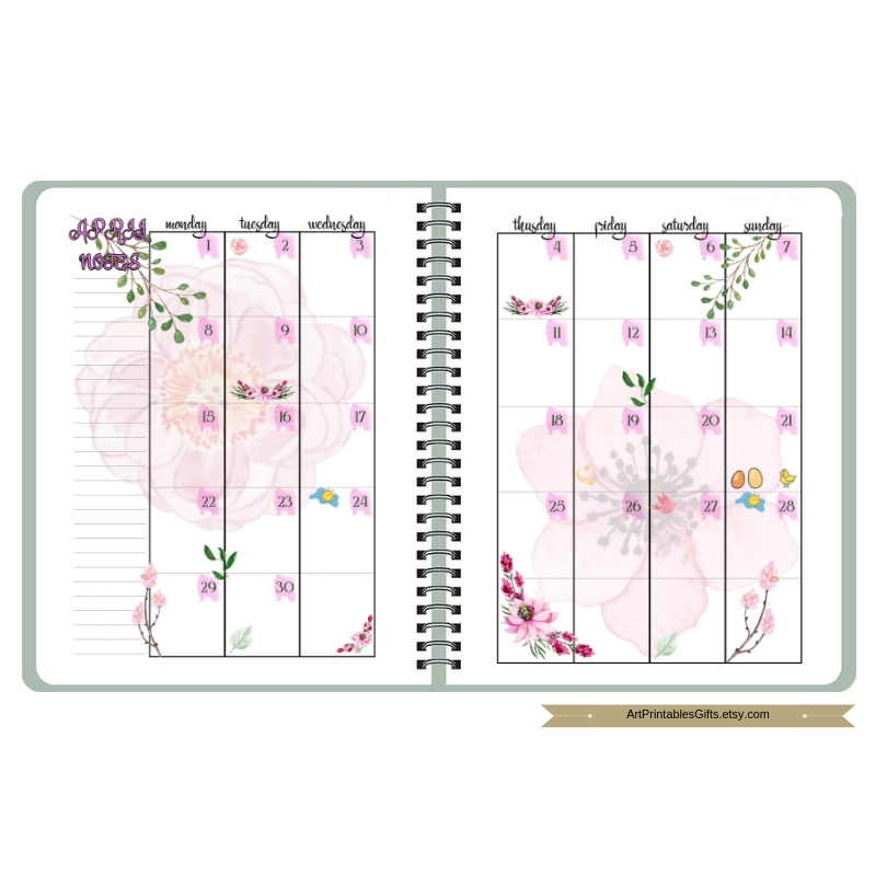 Monthly Planner Printable Happy pages, Month Organizer, A5 example image 4