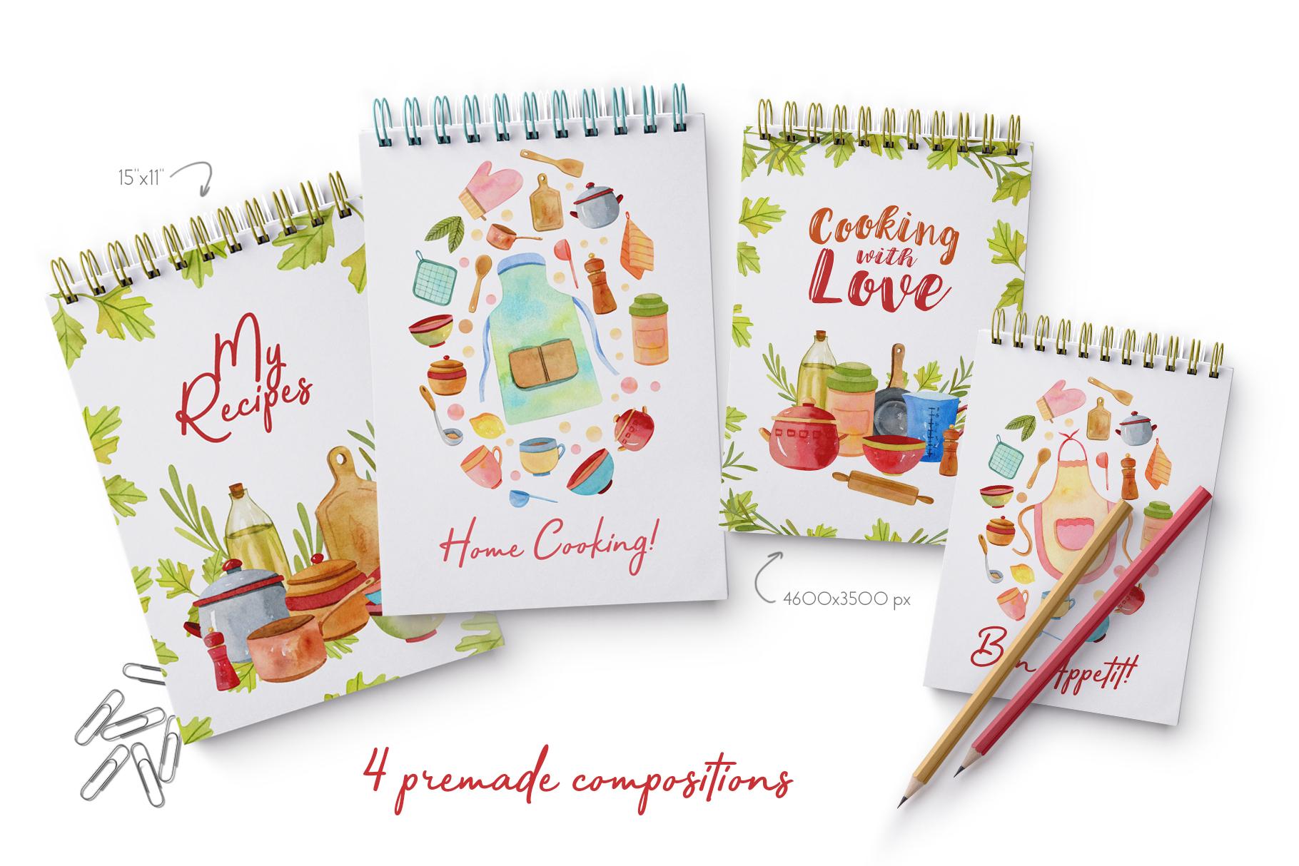 Watercolor Kitchen Utensils Set 2 example image 3