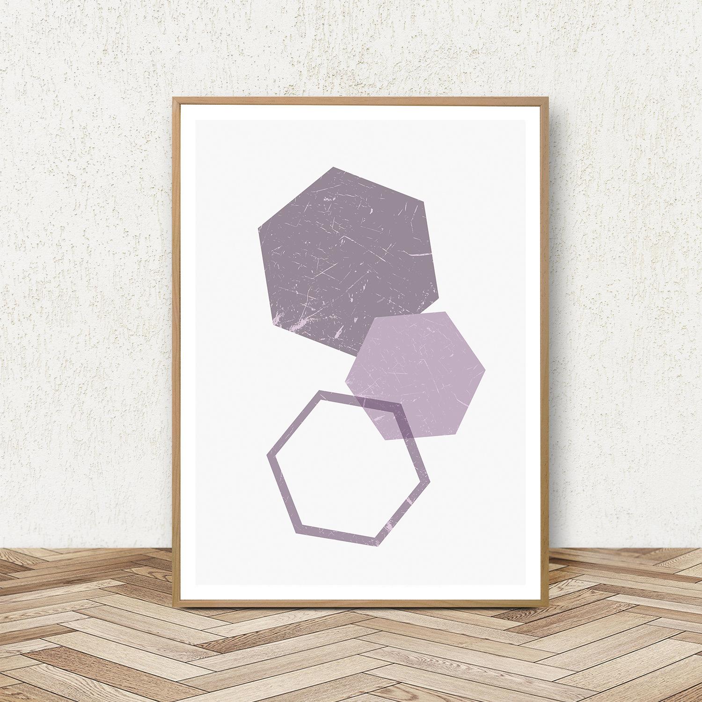 Purple Wall Art Prints, Geometric Print Set, Triangle Poster example image 2
