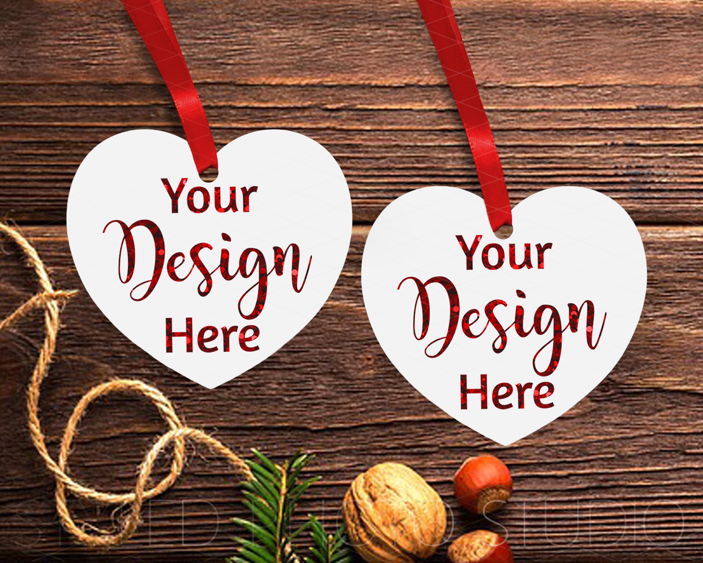 Christmas Heart Ornament Mockup Bundle, Bauble Mock Up, JPG example image 7