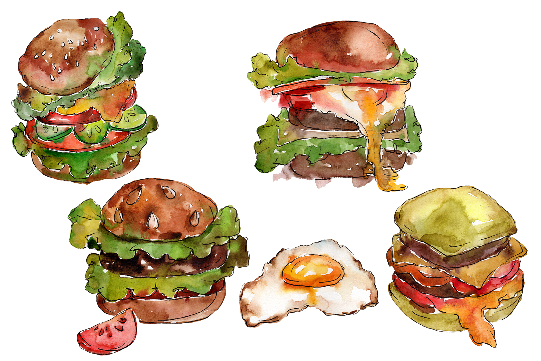 Hamburger for gentleman watercolor png example image 1