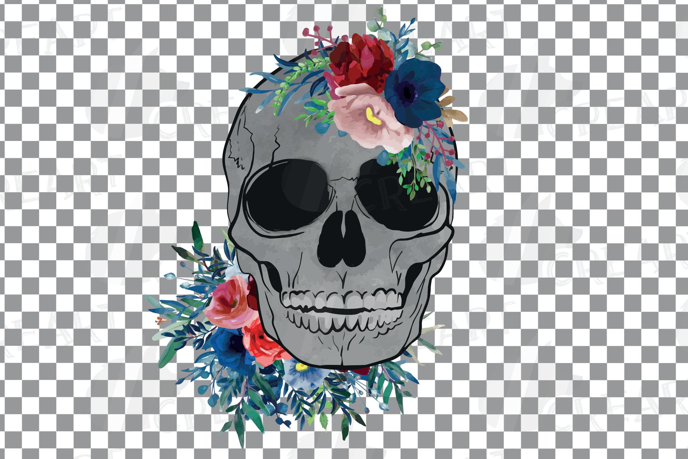 Floral skull watercolor decoration clip art. Skull shirt png example image 5