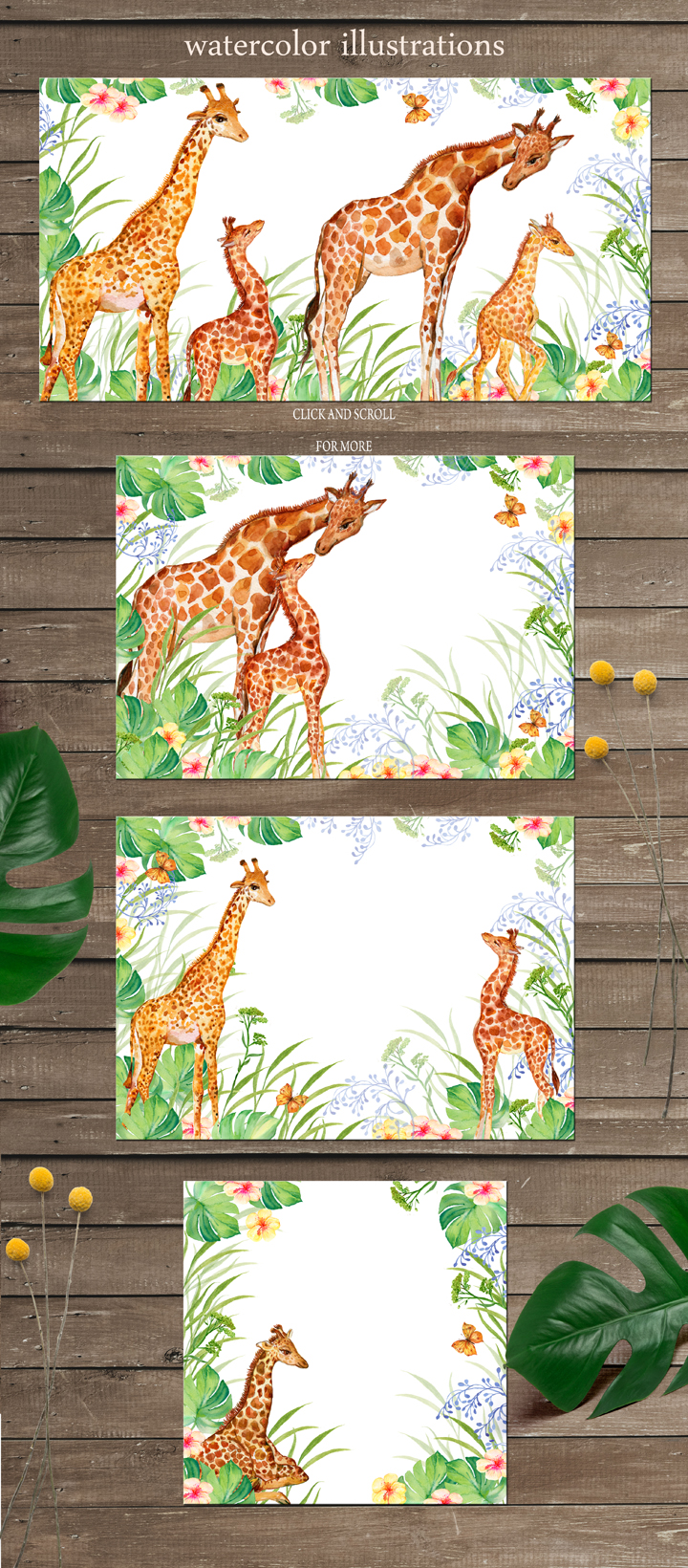 Giraffes. watercolor illustrations example image 3
