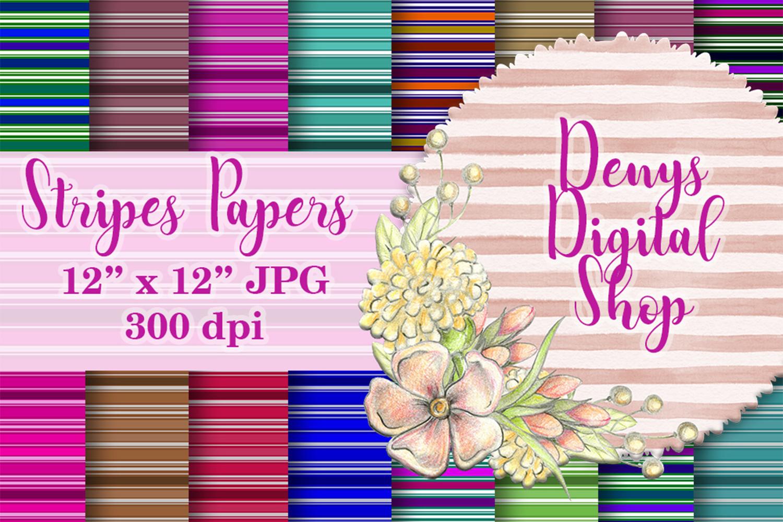 Striped Digital Paper Pack, Stripes Background,Color,sale example image 1