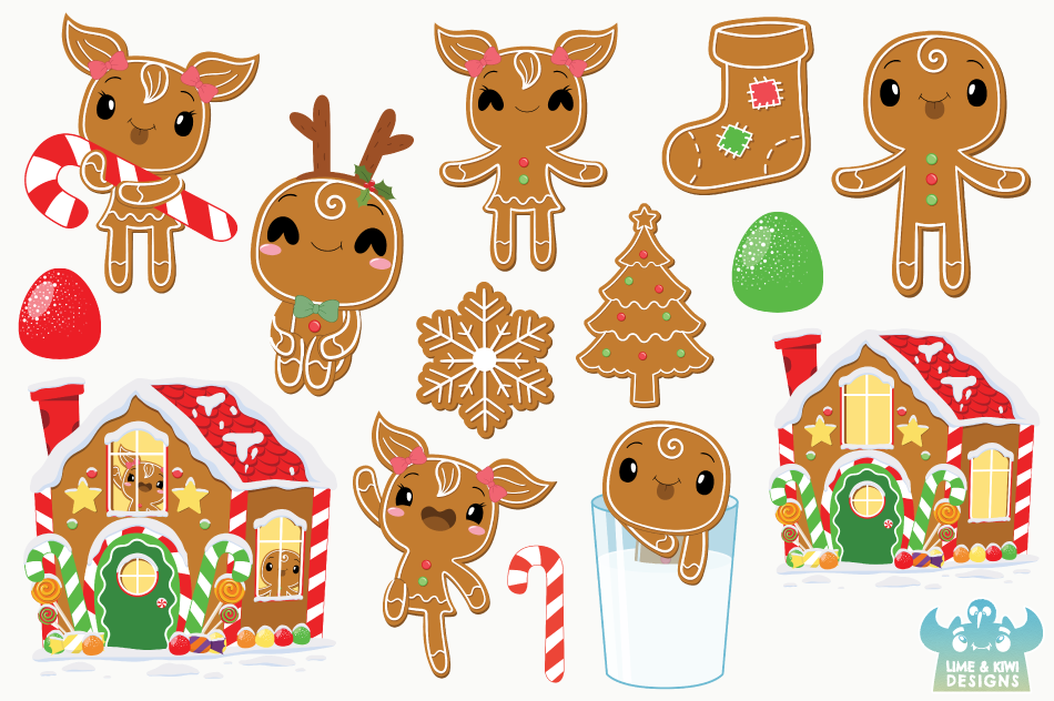 Christmas Gingerbread Clipart, Instant Download Vector Art example image 2