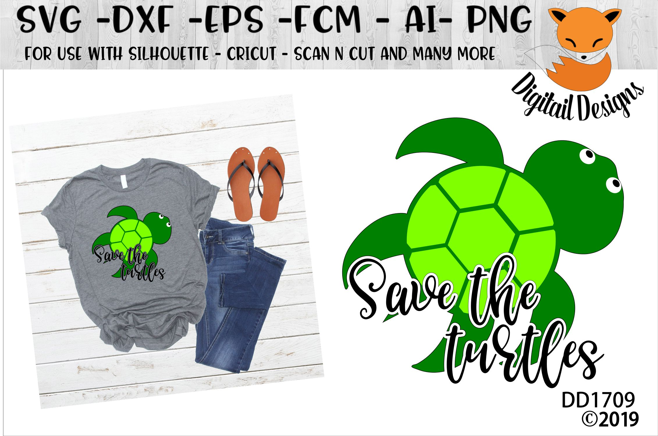 Save The Turtles Basic Girl SVG example image 1