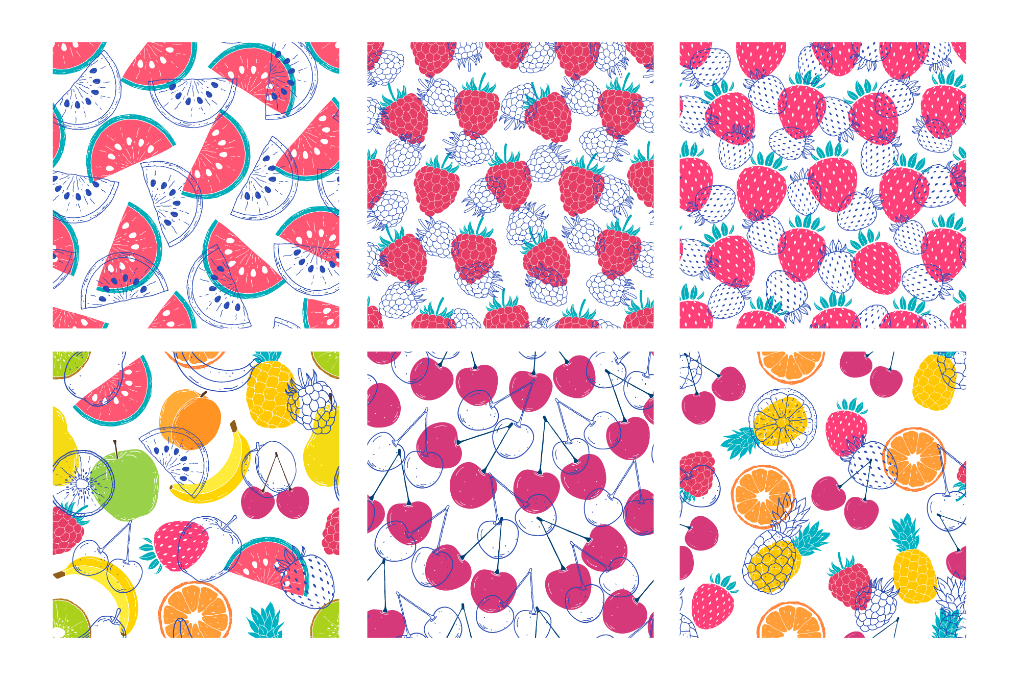 Fruits. Vector patterns. example image 13
