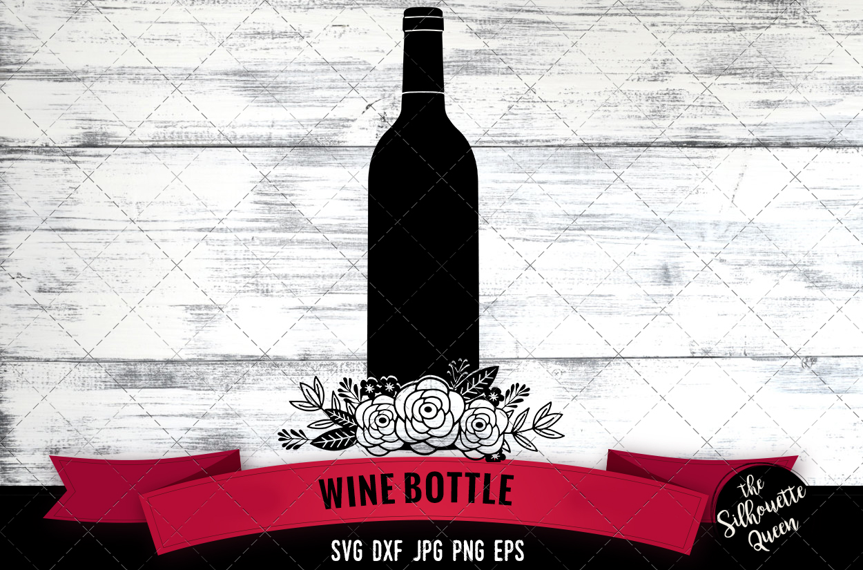 Floral Wine Bottle Svg Cut File example image 1