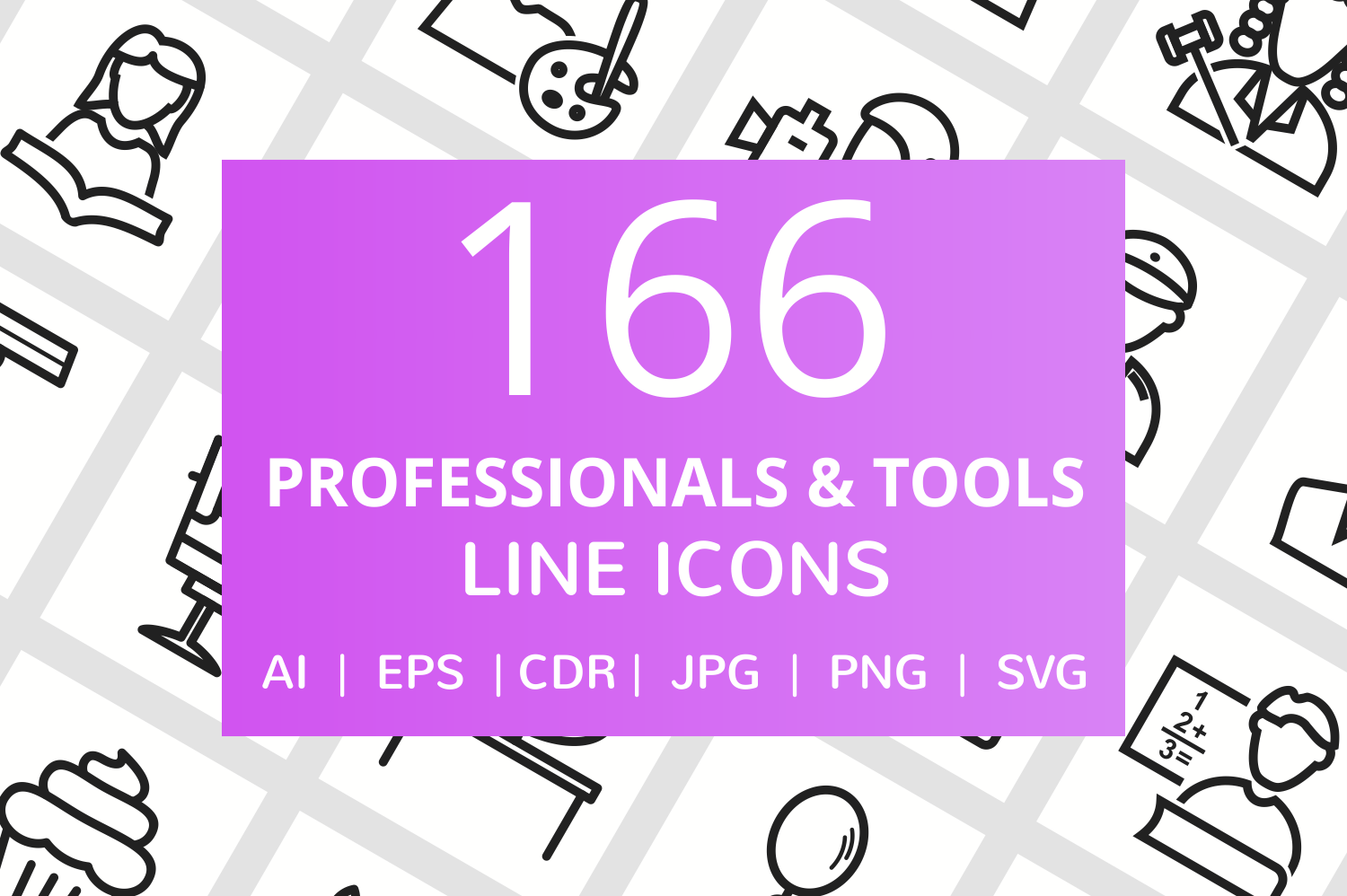 166 Professionals & their tools Line Icons example image 1