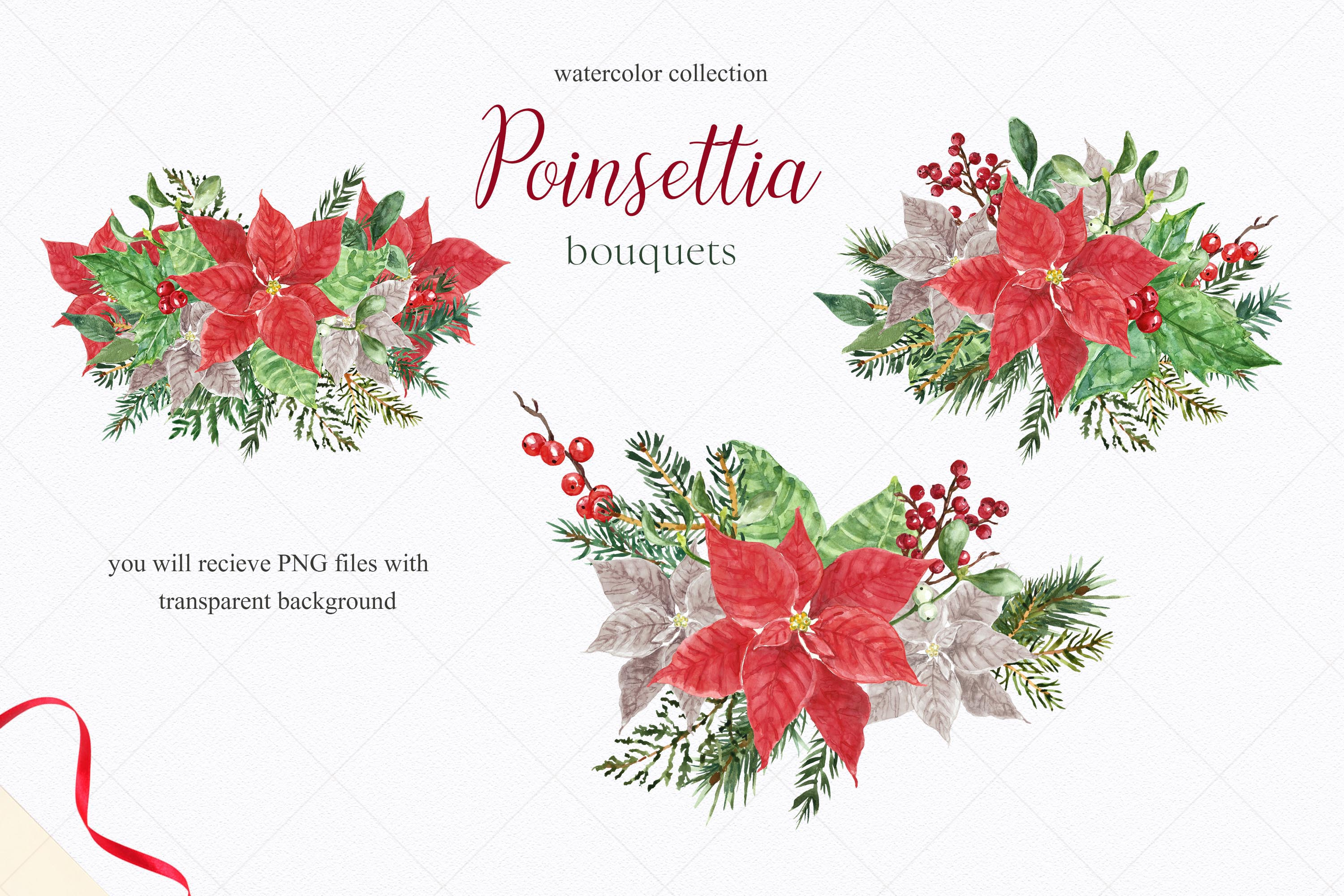 Watercolor Christmas Poinsettia Holiday Wreath Clipart example image 4