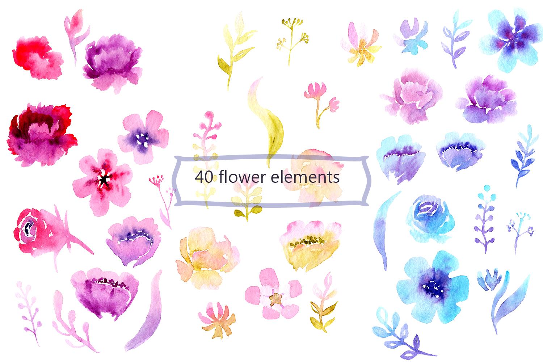Flower garden Watercolor Clipart example image 3