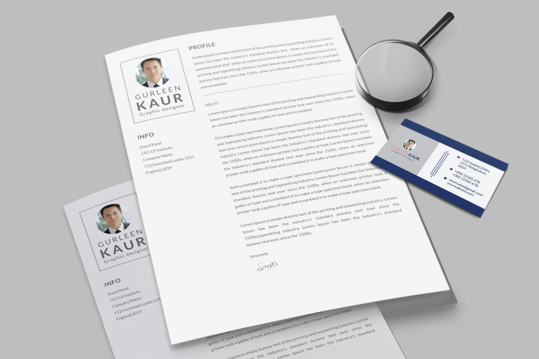 Professional Cv Resume Bonus business card Word/PSD,AI example image 12