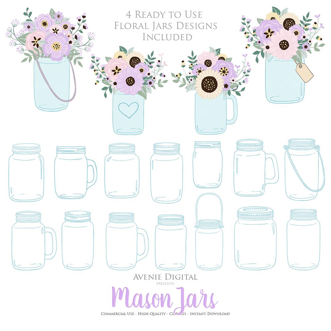 Lilac Mason Jar Floral Light Purple Wedding Clipart example image 5