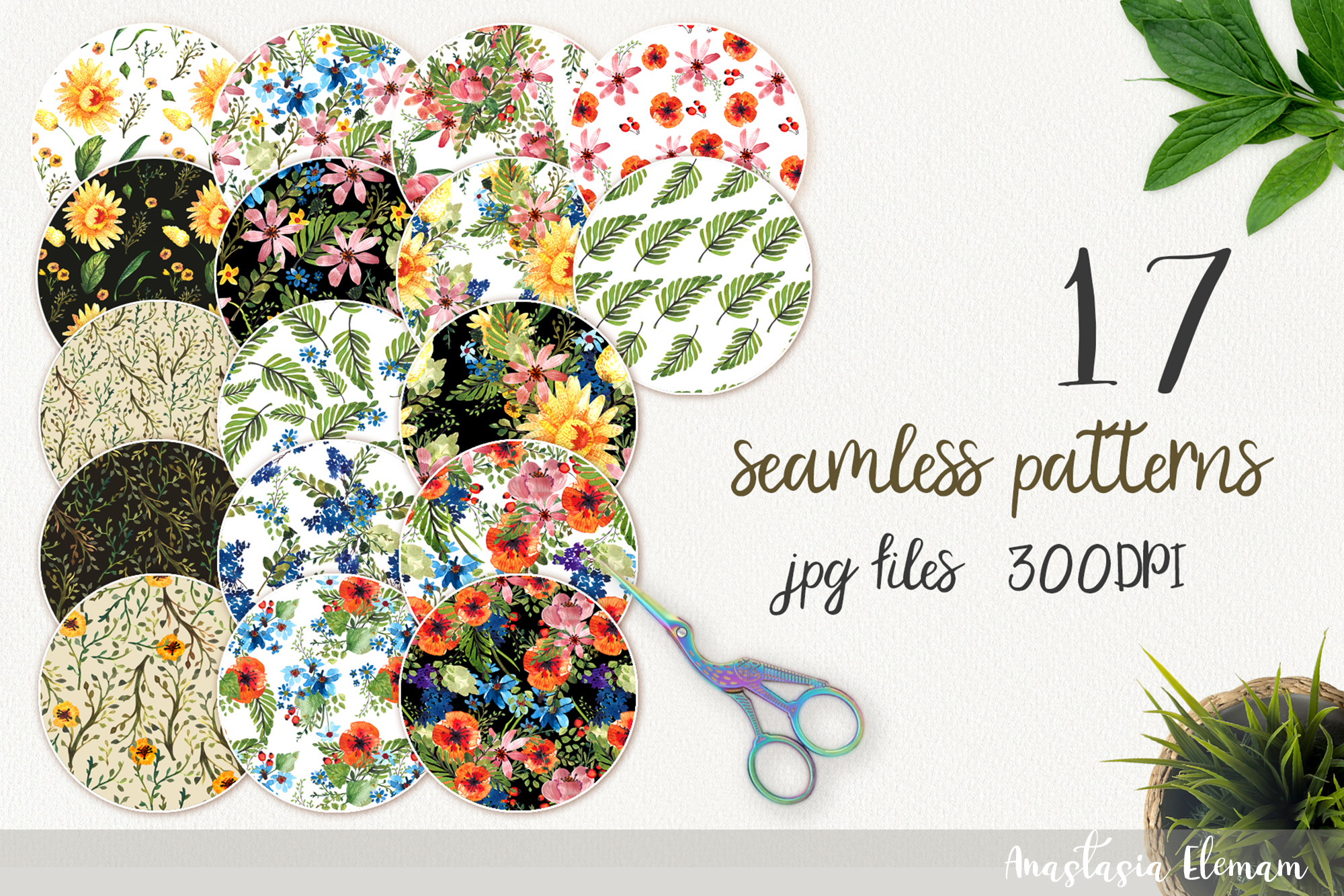 Patterns flower power 17 seamless jpeg seamless watercolor example image 1
