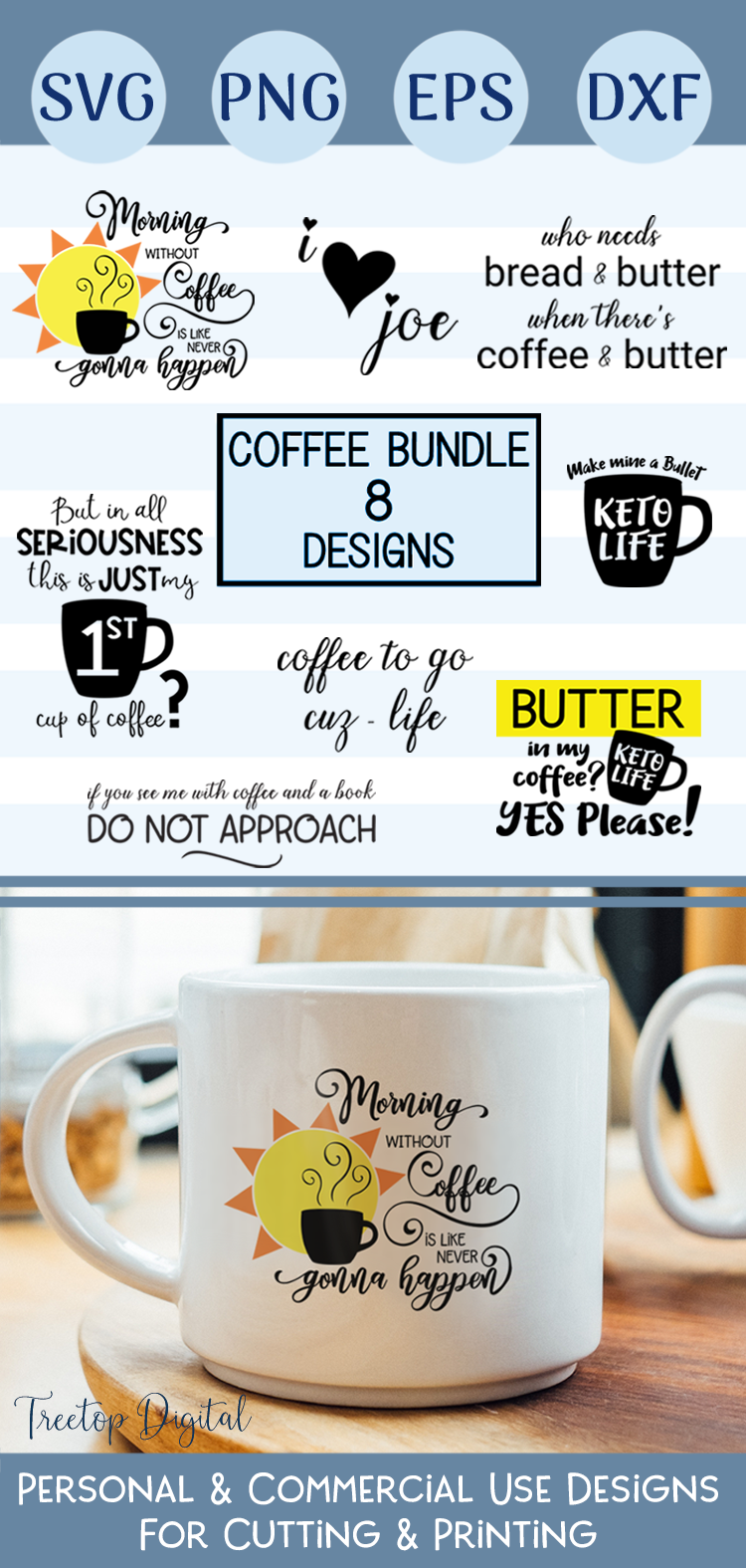 Coffee Designs for Cutting and Printing, A Coffee SVG Bundle example image 10