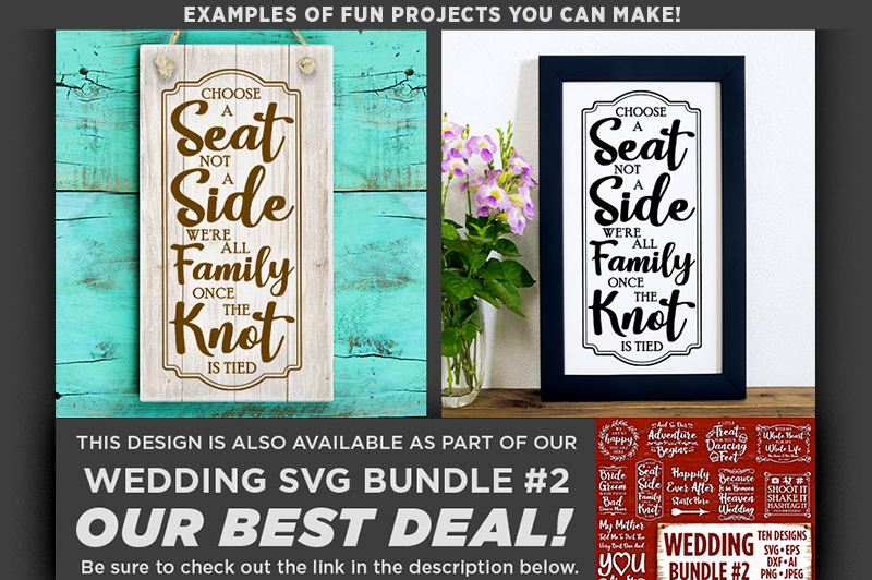 Choose A Seat Not A Side Wedding SVG File - 5517 example image 3