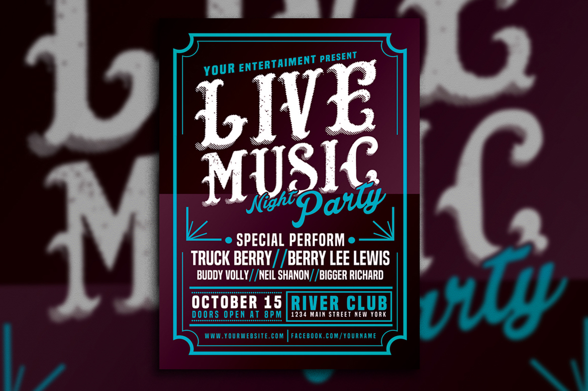 Live Music Typography Poster Flyer example image 4